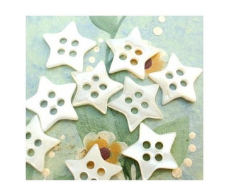 10 Shell buttons star shape natural color 4 holes 12mm  for sewing, button jewelry, children