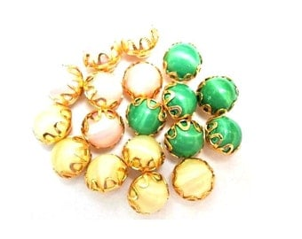 18 Vintage buttons green, rose pink, light yellow on gold color lace trim metal base 11mm
