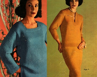 1950s Vintage hand knitting patterns for Women PATONS 638