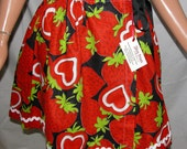 Wrap Skirt:  New from 70s Vintage Giant Strawberry Hearts Print Skirt - Ditzy Prints