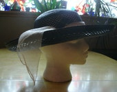 Vintage 70s Black Straw Hat, Sheer Fabric Band, Wide Rim