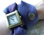 Watch Necktie Wrap in Twilight Blue and Pearl Gray Button