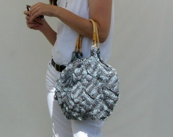 Summer Hand Bag, Variegated Gray, Womens Tote, Hobo Bag, Womens Purse, Tote Bag, Beach Bag, Summer Accessories, Top Handles Bag