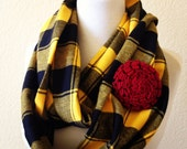 The Jane Infinity Scarf - yellow/black flannel print - HandsFullDesigns