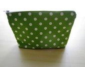 Polka Dots Bright Kelly Green - Large Zippered Pouch