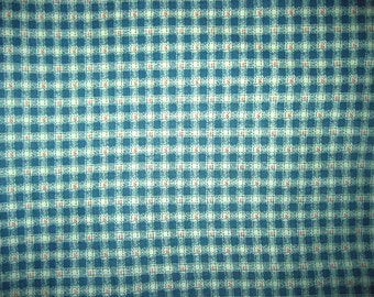 Vintage 60's Gingham Polished Cotton Fabric Yardage Aqua White Check 5 yds.