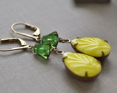 Green and Yellow Rhinestone Earrings, Vintage Estate Earrings, Glass Lever Back, Antiqued Brass, Retro Hollywood