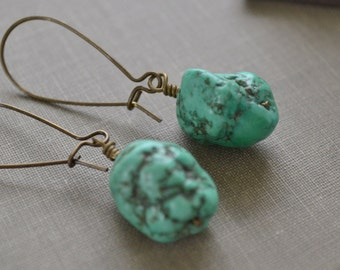 Boho Turquoise Nugget Earrings, Antiqued Brass Kidney Wire, Natural Stone Earrings, Beach Fashion