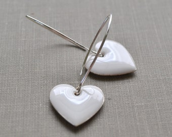 White Heart Enamel Earrings, Sterling Silver Dangle, Retro Fashion