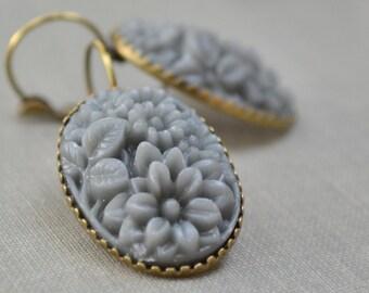 Grey Rose Boho Earrings, Vintage Carved Resin, Floral Bouquet Oval, Antiqued Brass Lever Back