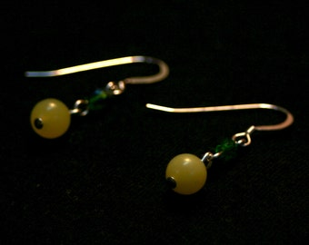 It's Not Easy Being Green Earrings - Serpentine and Czech Glass Dangle Earrings