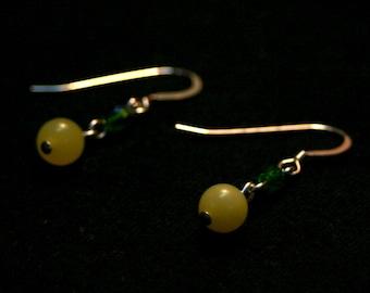 It's Not Easy Being Green Earrings - Serpentine and Czech Glass Dangle Earrings