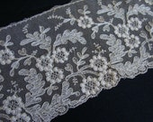 Antique Embroidered Tambour Net Lace Piece