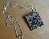 Spring Foliage Pendant - Eco Friendly Bookboard Necklace - OOAK