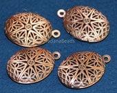 Bulk 20 pcs of antiqued Copper filigree Oval Locket Pendant 24x16mm