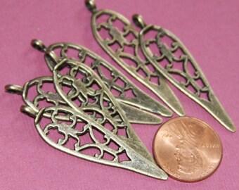 6 pcs of Antique brass pendant drops 12x43mm