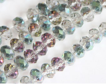 16 inch Strand of electro plated glass faceted rondelle beads 5X8mm Clear pink green