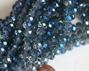 18 inch Strand of electro plated glass faceted rondelle beads 4x6mm Blue Grey