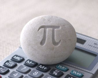 Geek gift - Engraved Pi stone paperweight