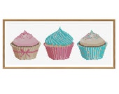 Pretty Cupcakes Cross Stitch Pattern Instant Download