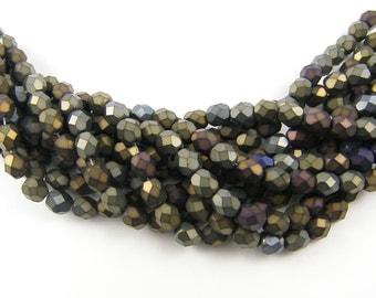 6mm Matte Brown Iris Beads, Brown Beads, Matte Brown Beads, 6mm Brown Faceted Round Czech Glass Beads |FR1-65|50