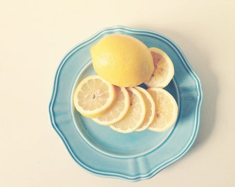 Lemons on Blue . food photography . white yellow cream . dreamy photography . kitchen art . cottage art . shabby chic decor . spring summer