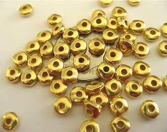 25 Heishi Nugget Spacer Beads TierraCast Bright Gold Plated Pewter 5mm