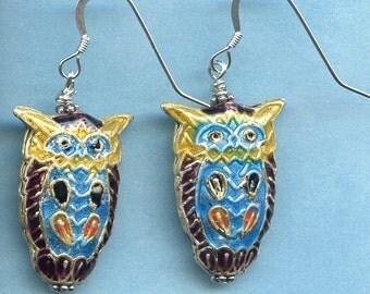 Cloisonne Owl Sterling Silver Earrings