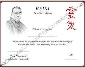 reiki certificate template software - reiki templates etsy