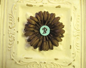 50% OFF--Chocolate Brown Gerbera Daisy Flower Clip w/ Teal Monogrammed Initial Embellishment Button--You Choose Initial