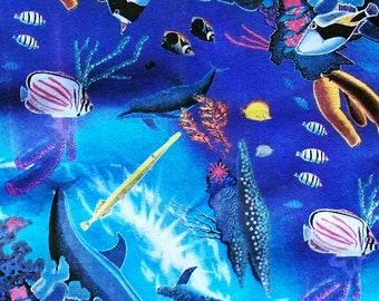 Reef Creatures hand-printed cotton fabric.