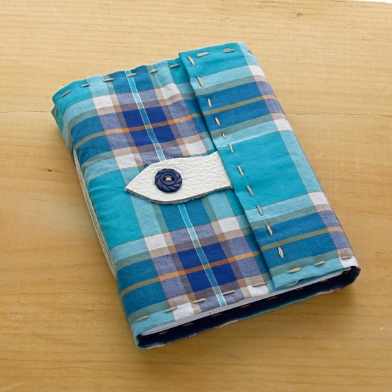 Blue Plaid Vintage Fabric Journal and Sketchbook in Preppy Plaid On Sale