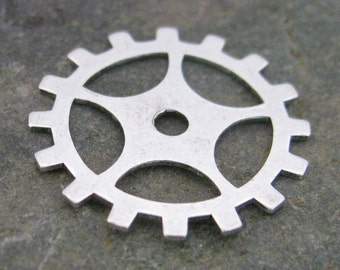 Steampunk Jewelry Parts Watch Gears Antique silver 1143 - 12 pieces