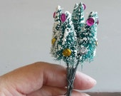 6 Vintage 1970s Bottle Brush Millinery Flocked Decorated Trees Hats Fascinaters Hair Combs Corsage Altered Art  Gift Toppers Party Costumes