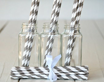 Stripe Straws GRAY - Great Party Supplies from Mary Had a Little Party