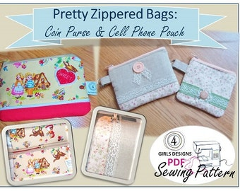 Pretty Little Zipper Bags: Cell Phone Pouch and Coin Purse INSTANT DOWNLOAD PDF Sewing Pattern