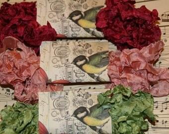 Crinkled Seam Binding  Ribbon 15 Yards - Vintage Paris Night Trio - Pink, Rose and Green