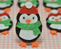 Set of 6pcs handmade felt penguin--black (FT902)