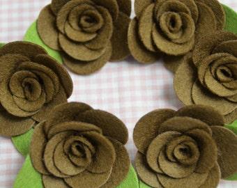 Set of 6pcs felt flower--chocolate (FT982)