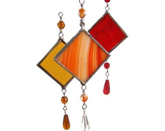 Set of Three Stained Glass Suncatchers Hot Colors Light Catchers