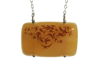 Amber Damask Fused Glass Necklace Sterling Silver