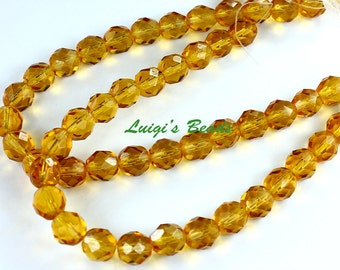 25 Czech Firepolish Med. Topaz Faceted Round Beads 8mm