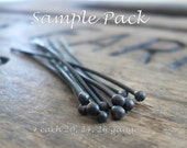 SAMPLE Pack Handmade Ball Headpins - 2 pair each of 24, 26 & 20 gauge, 2 inches. Heavily Oxidized