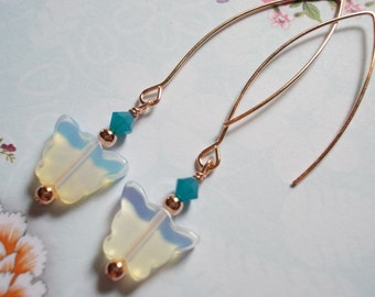 Long butterfly earrings white opal glass rose gold plated Caribbean blue crystals dangle drop butterflies earrings for women on sale
