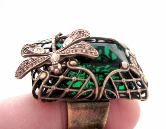 Emerald Forest Dragonfly Ring statement ring with green glass stone and filigree, vintage style brass ring, cocktail ring, fantasy