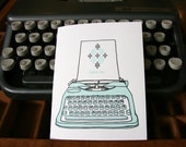 letterpress thank you vintage typewriter card