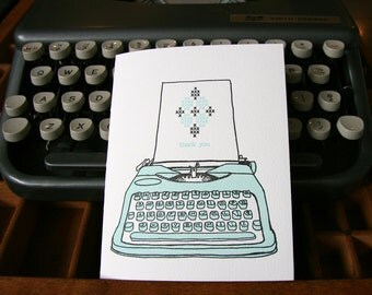 letterpress thank you vintage typewriter card