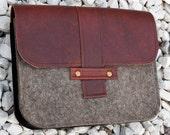 Leather and Felt Clutch Ereader Case - HuzzahHandmade