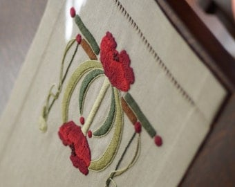 Poppies Table Scarf, Craftsman, Mission Style, Hand Embroidered