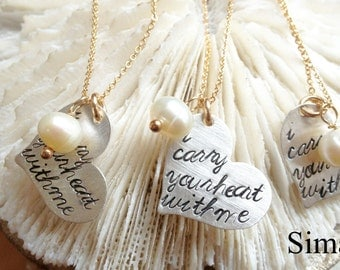 The price is for ONE necklace -   i carry your heart with me  - Inspired by the beautiful poem by E E Cummings-Hand Stamped By Simag